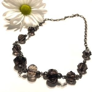 Handmade Wire Wrapped Light Black Bead Necklace